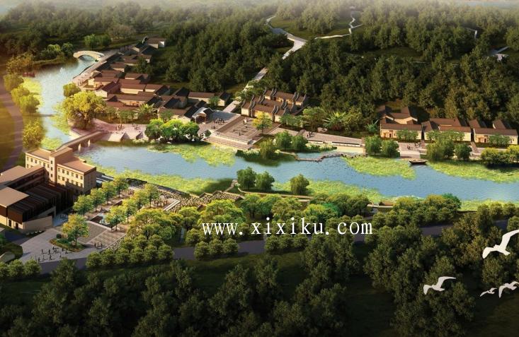 [广州]古村落生态保护与休闲景观改造方案-日景鸟瞰图